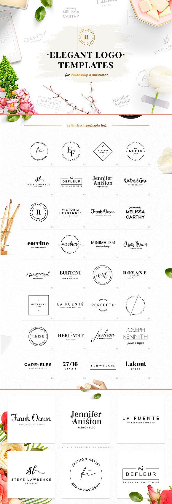 32 Elegant Logo Templates by Uidea on @creativemarket Creative logo design inspiration, perfect for a modern business branding with perfect font and typography selection. Take some ideas or use this feminine, elegant, nature, floral and also hipster set.