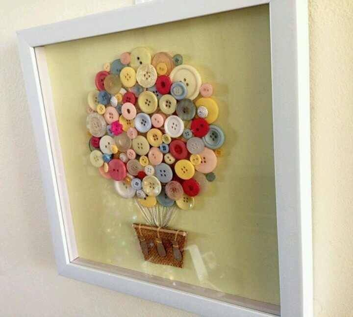 Hot air balloon framed with buttons