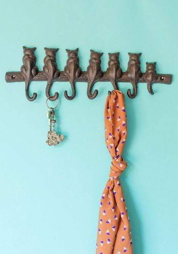 Cat-alyst for Change Wall Hooks  #Modcloth I don't usually like cat decor, but this would be cute because we have 7 cats.