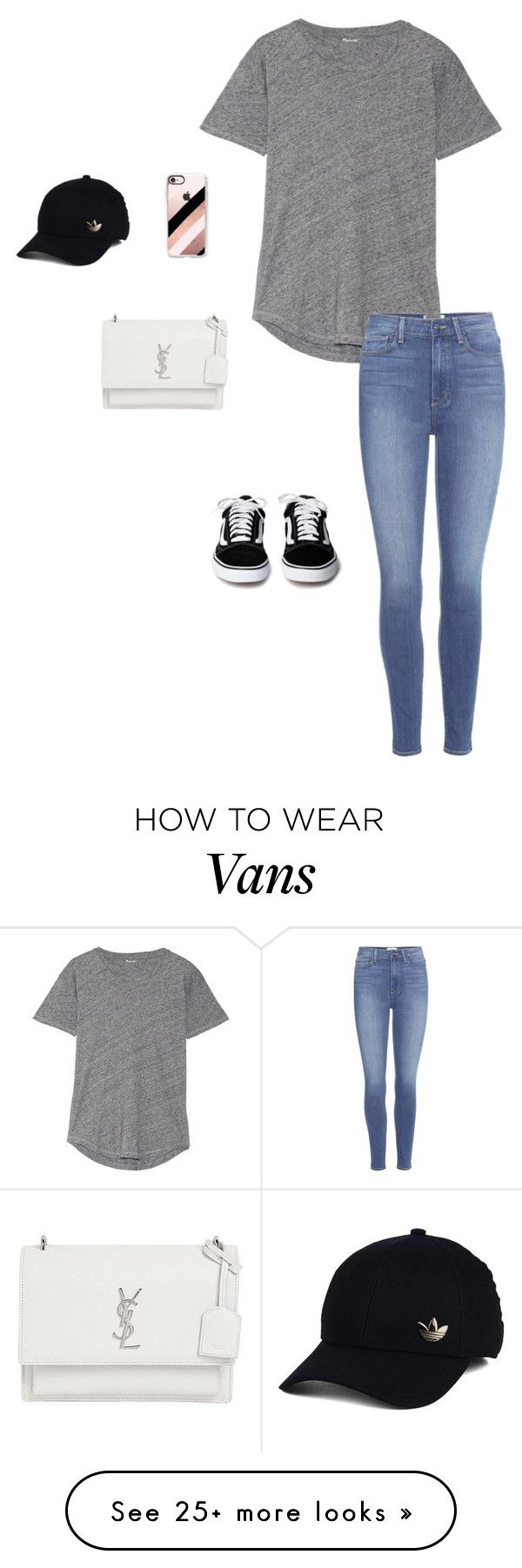 """How to wear vans"" by sydneyalllen1025 on Polyvore featuring Madewell, Paige Denim, Casetify, Yves Saint Laurent and adidas"