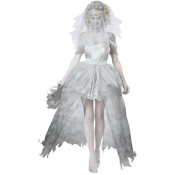 ONAMANO Halloween Women Ghostly Corpse Bride Cosplay Costumes Dress ❤ liked on Polyvore featuring costumes, ghost halloween costume, ladies costumes, womens cosplay costumes, role play costumes and corpse bride costume