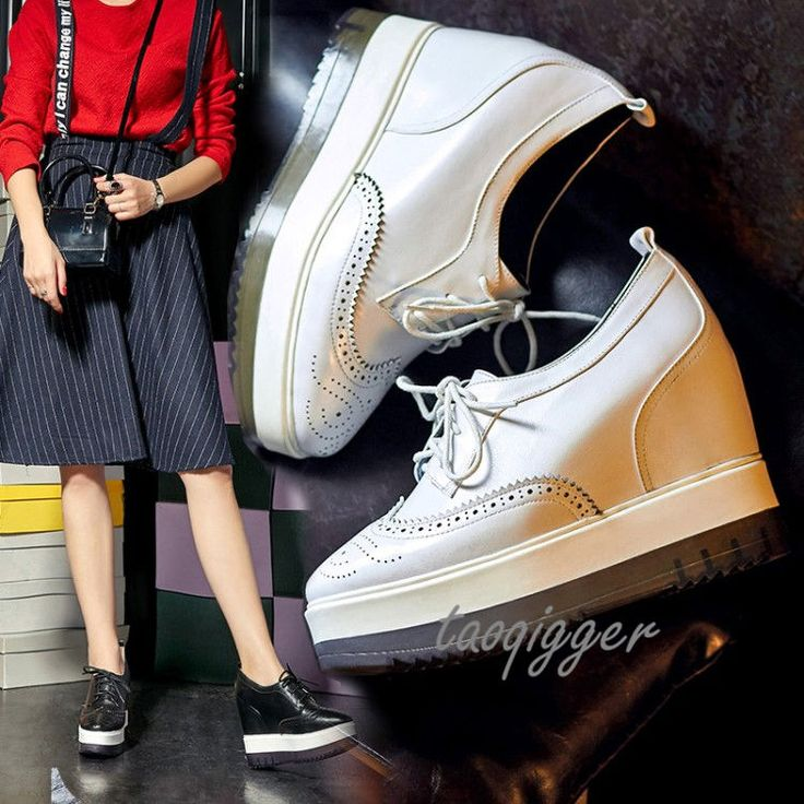 Women Wedge Heel Wing Tip Brogue Shoes Lace-Up Carved Shoe Pumps Fashion Loafers