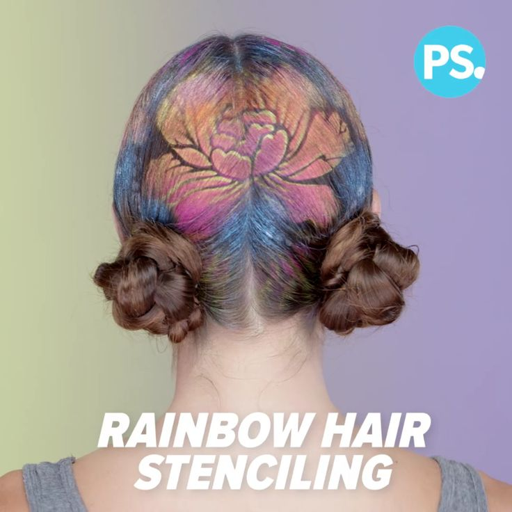 Hair stenciling turns your hair into a canvas for the rainbow design of your dreams. We partnered with Janine Ker of @janine_ker_hair to create a floral, Summer-inspired design. Using stencils you can find at the craft store as well as stencils she handmade using an X-Acto knife and paper, any pattern is possible! The palette of colors includes gold and a pearlescent coral by Joico InstaTint Temporary Color Shimmer Spray ($10) to give it a bright, vibrant look.