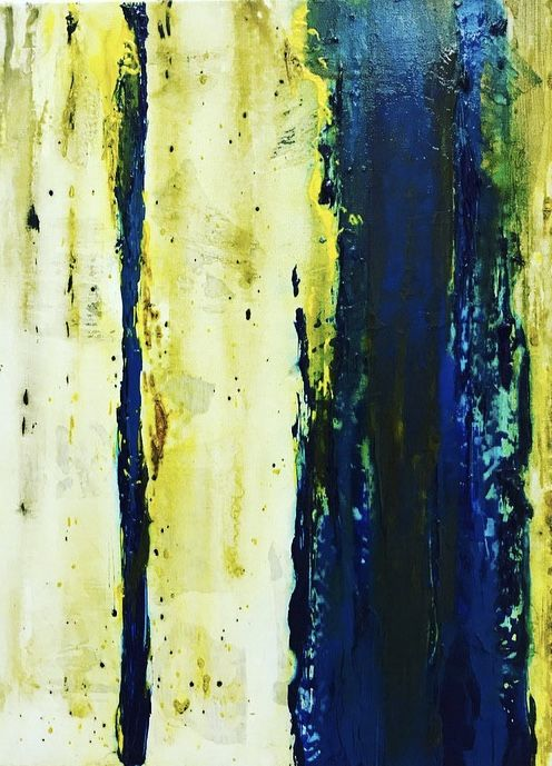C O M P A S S. Yellow/ Blue/ Green #art #painting #texture #modern #yellow #blue #lines