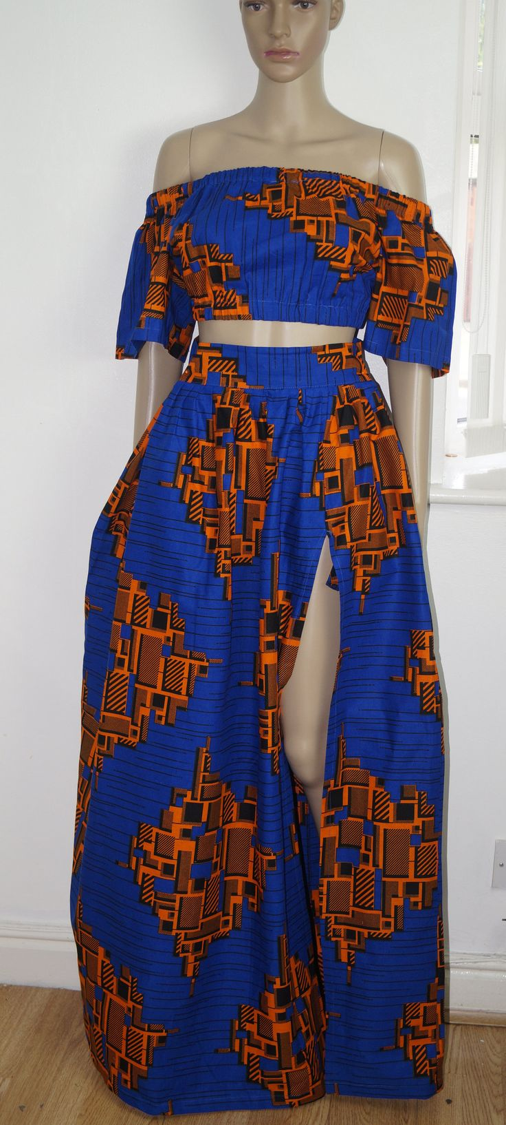 off shoulder top co-ord, off shoulder top, flare maxi skirt, ankara skirt, ankara top, cold shoulder off, top, retro skirt, by MADKollection on Etsy
