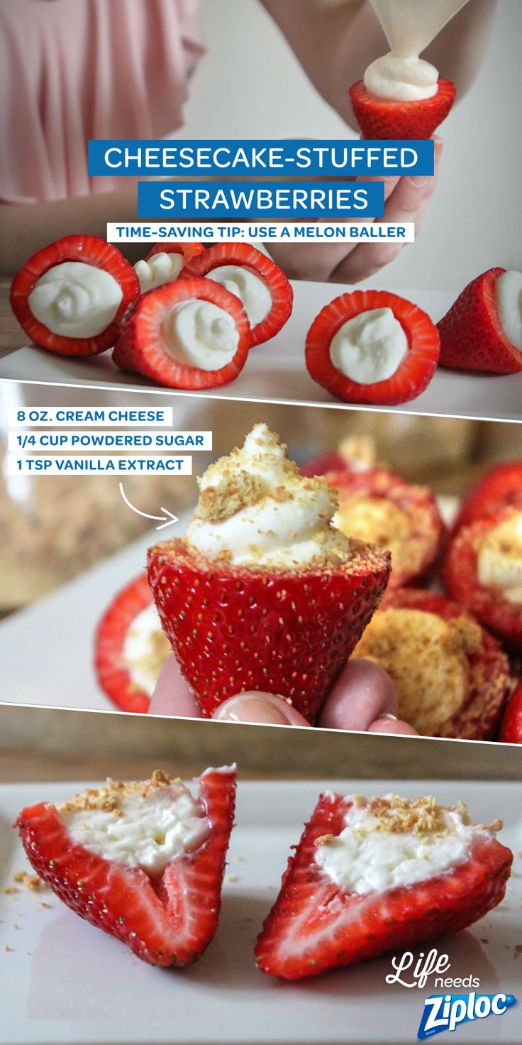 So easy and SO good. These taste just like strawberry cheesecake but take half the time to make! Just remove stems and hollow out strawberries using a melon baller. Then, mix 8 oz. of cream cheese with ¼ cup of powdered sugar and 1 tsp. of vanilla extract. Pipe into berries using a Ziploc® bag with one corner trimmed off. Decorate with graham cracker crumbs or drizzle with chocolate.