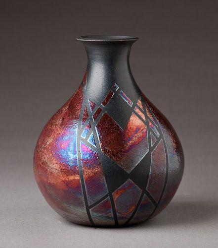 Raku Bottle by Lori Duncan.