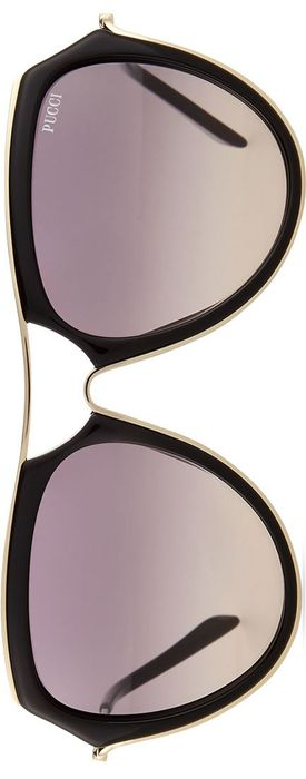 Emilio Pucci Large Aviator Sunglasses, Black