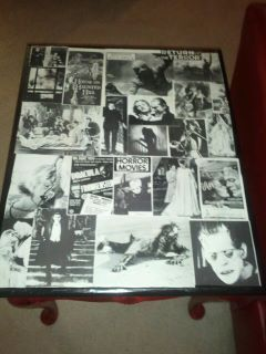 DIY Horror Movie Table- do this but with my own pictures of friends and family