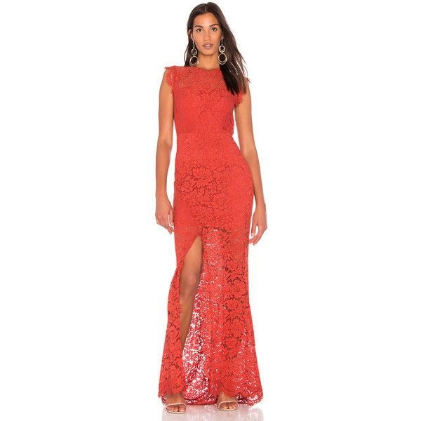 RACHEL ZOE Estelle Dress ($495) ❤ liked on Polyvore featuring dresses, red dress, scalloped dress, lace dress, scallop trim dress and red lace dresses