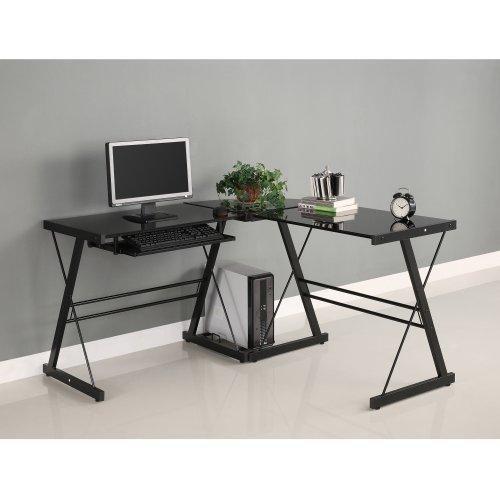 Walker Edison Soreno 3-Piece Corner Desk Black with Black Glass