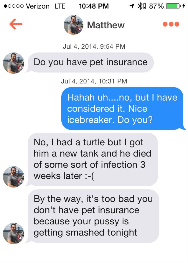 Do You Have Pet Insurance? – Probably The Best Tinder Pick Up Line