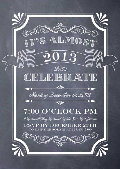 Party Invitations   Chalkboard New Year Invitation Crush. Chalkboard Designs,  Chalkboard Ideas ...