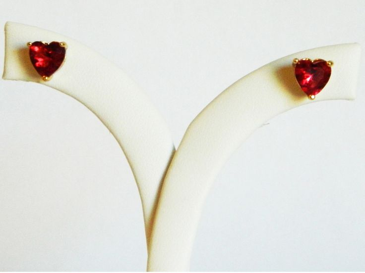 Retro 18kt Gold Plated Faux Ruby Heart Studs on Ellefulton.com