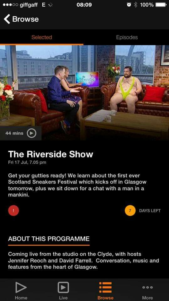 Absolutely Crazy, i'm the photo on STV Player for Fridays Catch Up of the Riverside Show #ochwedding #spreadthelove