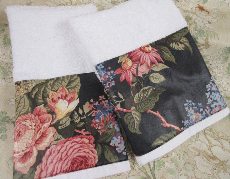 WAVERLY fabric Black Polished Cotton on White Hand Towels /2 HAND TOWELS  #HandMade