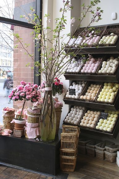 Sabon's Store in NYC. Visual merchandising. Retail store display. Soap / Lotions / Personal care.