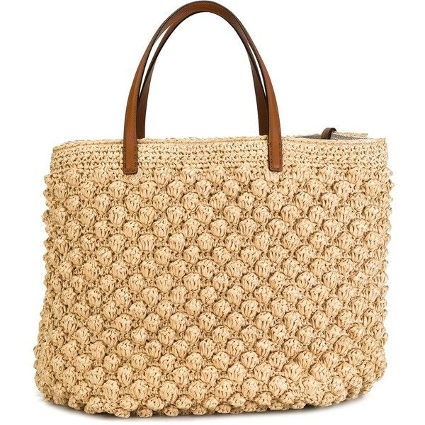 Ermanno Scervino woven wicker tote ($1,305) ❤ liked on Polyvore featuring bags, handbags, tote bags, brown, beige tote, beige handbags, brown tote, handbags totes and beige tote bag