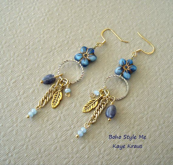 Bohemian Jewelry, Blue Flower Dangle Earrings, Forget Me Not, Iolite Gemstone Earrings, Boho Style Me, Kaye Kraus