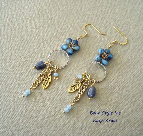Bohemien gioielli, orecchini fiore blu, Forget Me non, occhini con pietra dure Iolite, Boho Style Me, Kaye Kraus
