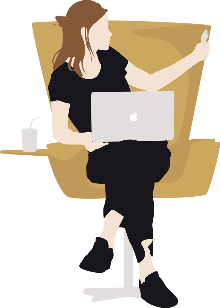 Vector Woman Sitting & Using Macbook – #Macbook #p…
