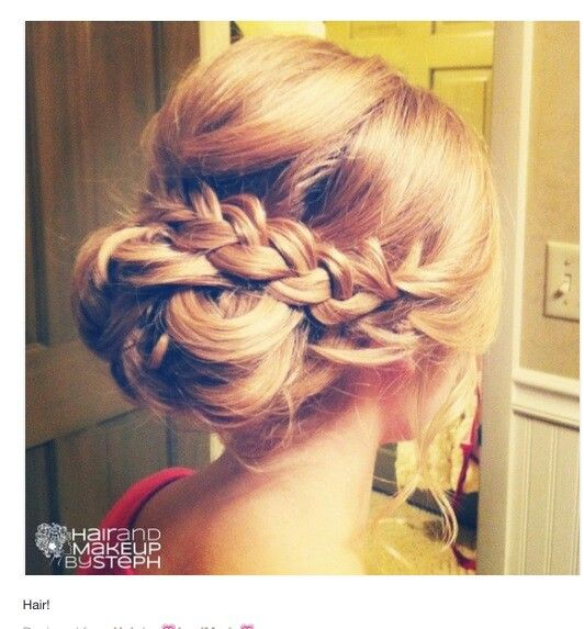 Bridesmaids hair... Love the braid and that the hair is loose