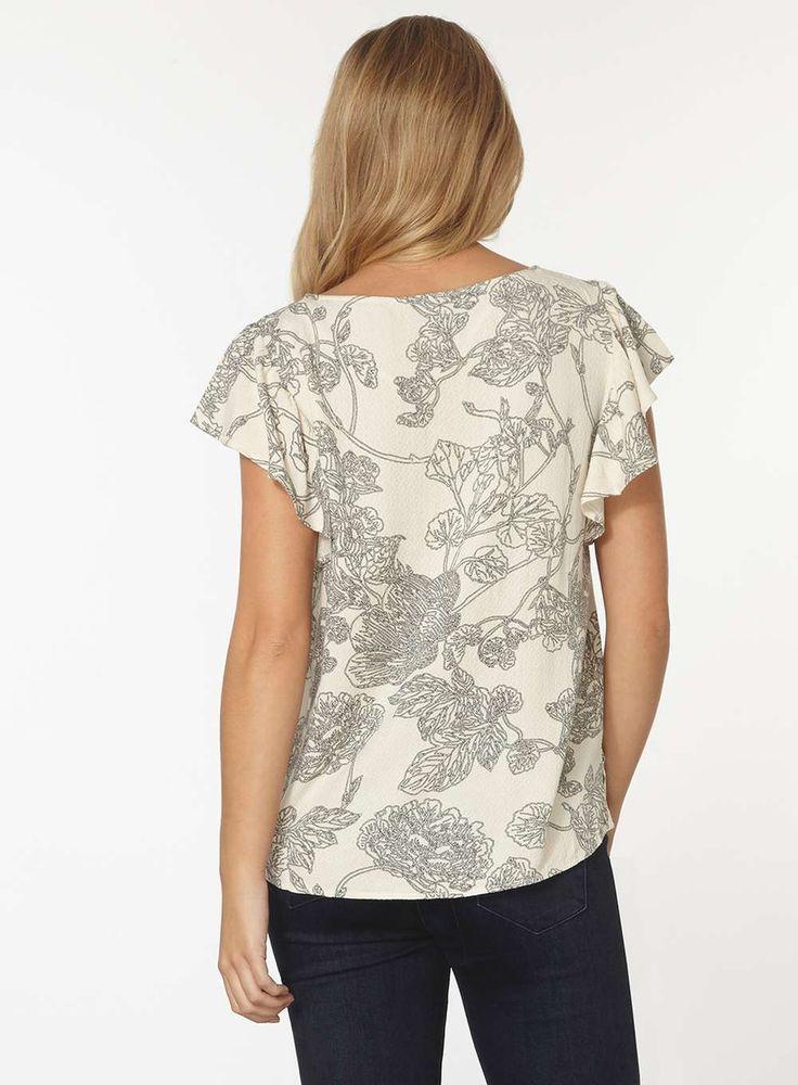 Womens **Vero Moda Cream Floral T-Shirt- Cream