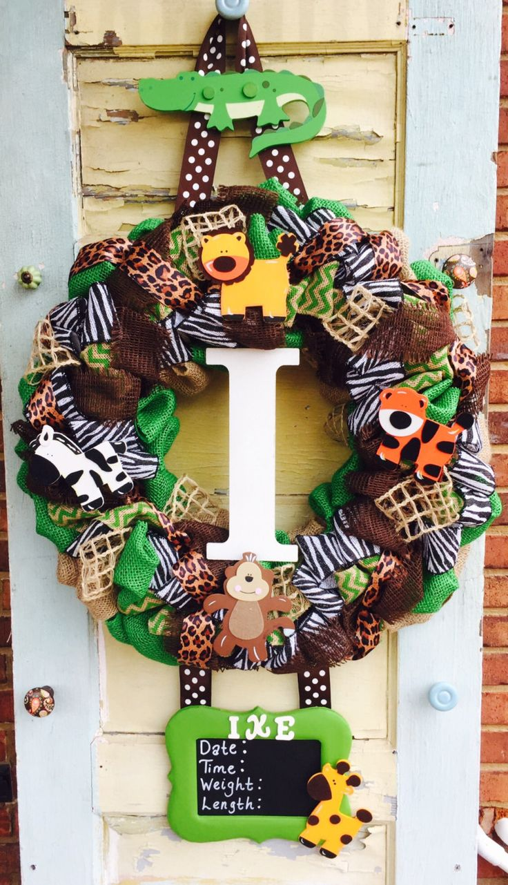 Safari Baby Hospital Door Wreath by East2Nest on Etsy