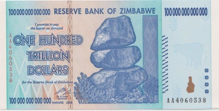Collecters Item: 2008 Zimbabwe 100 Trillion Dollar Bank Note - Uncirculated Mint Condition
