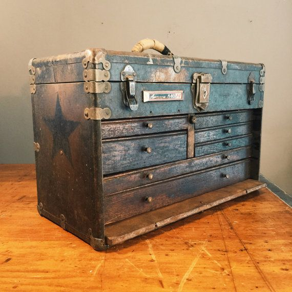 Antique Machinist Tool Chest  Wood and Metal  by MadVanAntiques