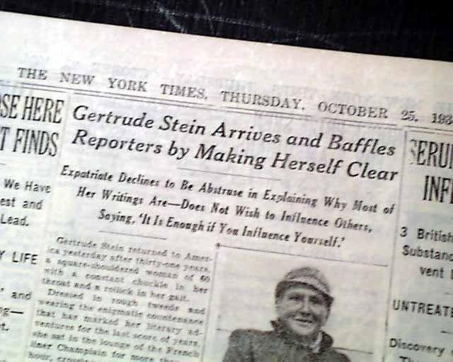 GERTRUDE STEIN American Writer & Playwright RETURNS to America 1934 NY Newspaper