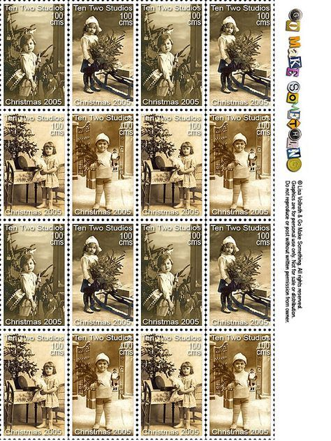 Faux postage stamps are great for decorating envelopes