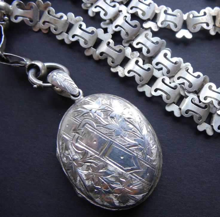 antique Victorian SILVER belt buckle flower locket fancy book chain necklace T34