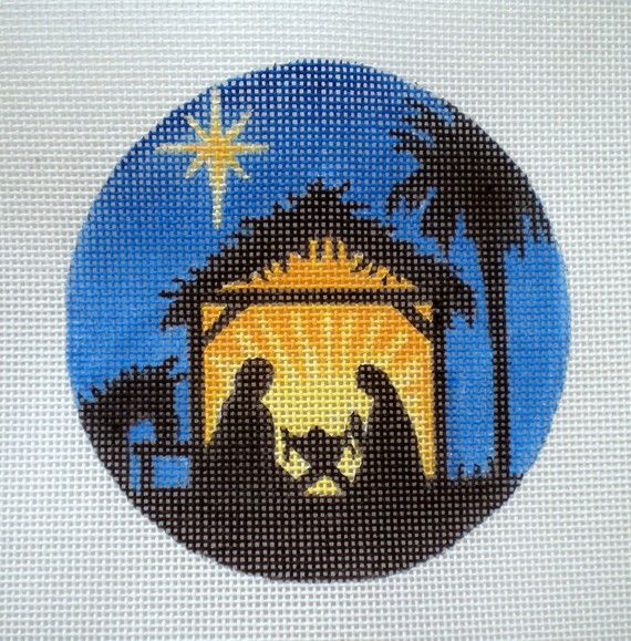 Handpainted Needlepoint Canvas Nativity Scene