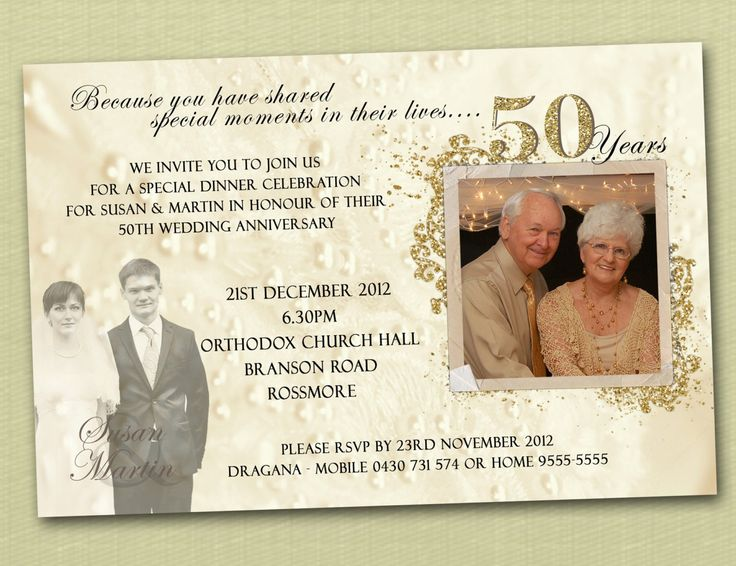 Golden letters on white or cream 50th wedding anniversary invitations look truly amazing and luxurious transferring all the majesty and wisdom a 50-year-old wedding has.