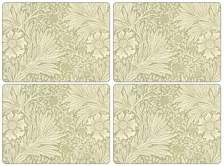 Set of 4 Pimpernel Marigold Green Placemats