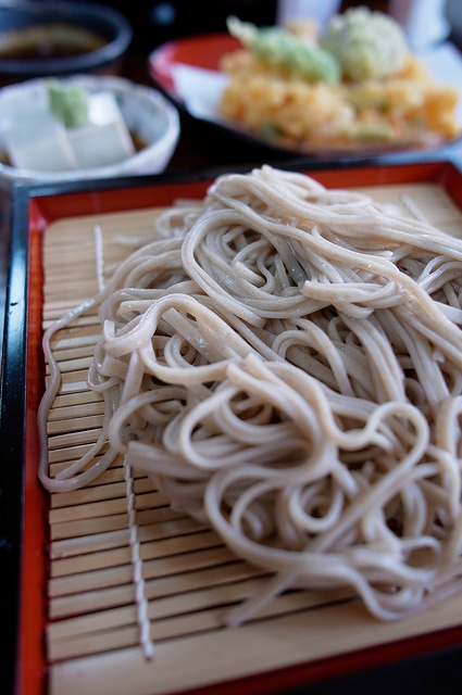 soba.....Japanese name for buckwheat. Soba noodles are served either chilled with a dipping sauce, or in hot broth as a noodle soup