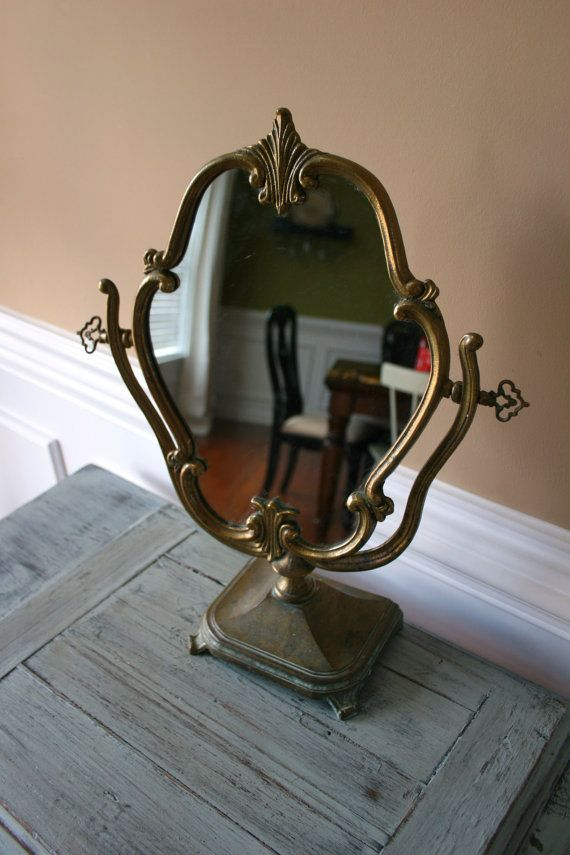Antique Vanity Mirror with Stand Makeup Ornate by RhapsodyAttic, $145.00 - 544 Best Antique Dresser Jars, Mirrors, Combs & Brushes , Vanity