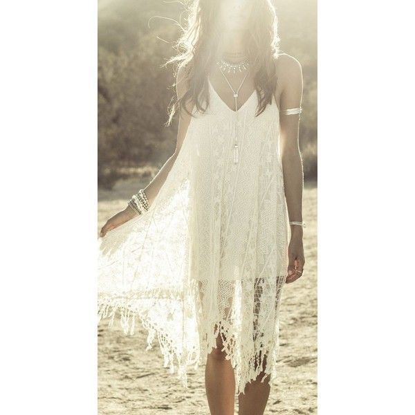 Crochet lace Boho chic bohemian boho style hippy hippie chic bohème... ❤ liked on Polyvore featuring dresses