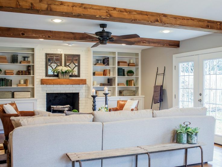 Fixer upper a fresh update for a 1962 shingle shack - Beams in living room ...