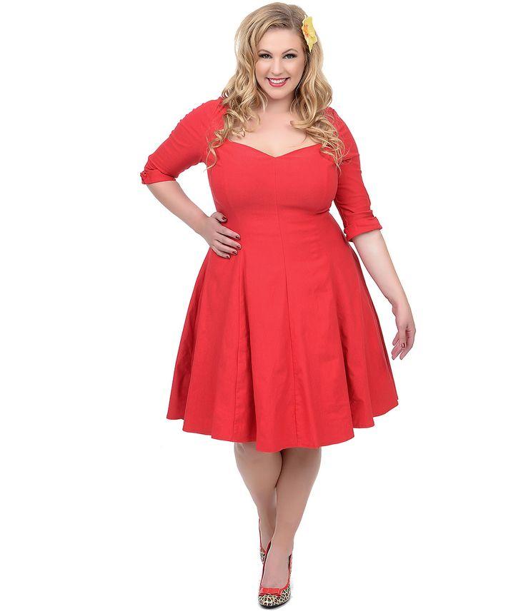 Unique Vintage Plus Size Red Three-Quarter Sleeve Grace Swing Dress