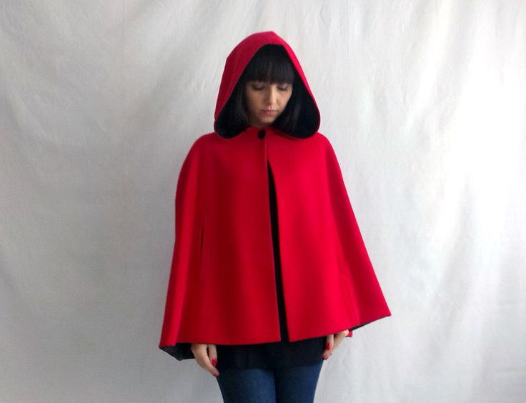 Little red riding hood, red cape, wool cape, fall fashion, fairy tale cape coat, hoodie cape, adult little red riding hood by AliceCloset on Etsy https://www.etsy.com/listing/210868212/little-red-riding-hood-red-cape-wool