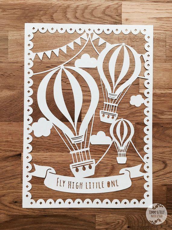 Bunting horkovzdušné balóny SVG / PDF Design - Papercutting Vinyl Template - paper cut šablona - balónek papercut - děti SVG