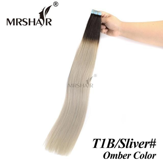 MRSHAIR T1B/Silver Hair Ombre Tape In Hair Extensions 20pcs Balayage Human Hair On Tape Hair Extensions Straight Non-Remy
