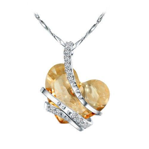 Swarovski Taşlı Gümüş Kalp Kolye