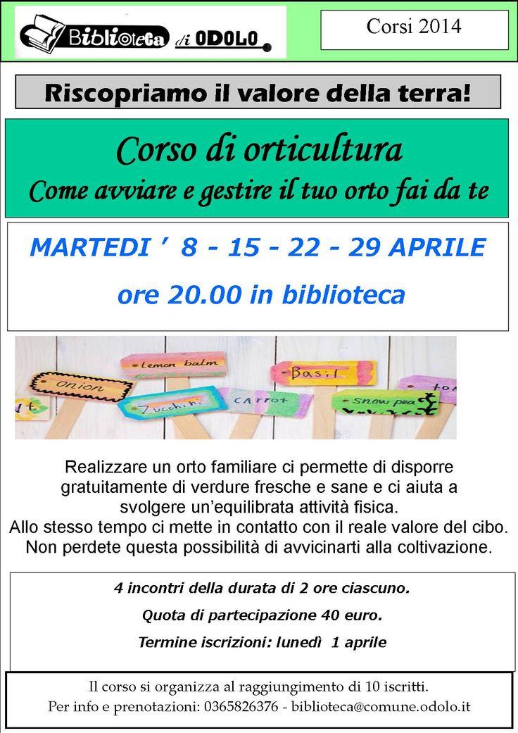 LOCANDINA ORTICULTURA biblioteca di Odolo
