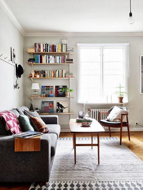 25 best ideas about table shelves on pinterest shelves - Decorating wall shelves in living room ...