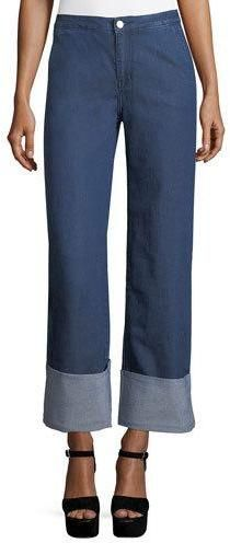 KENDALL + KYLIE High-Waist Chambray Cuffed Pants