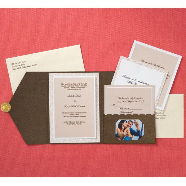 DIY Wedding Invitations - Bronze Photo Pocket Invitations $34.99