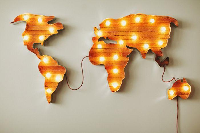 Os traigo una batería de ideas para decorar con el mapa del mundo vuestro hogar